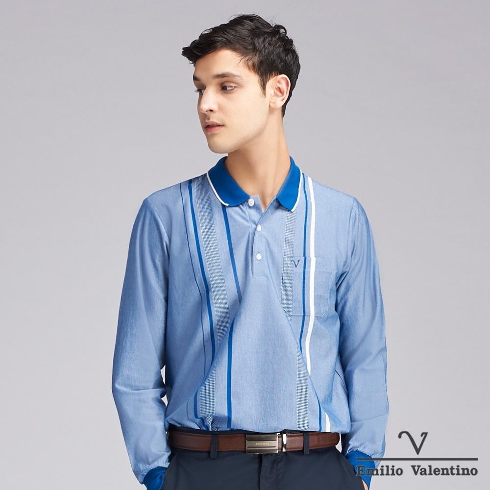 Emilio Valentino范倫鐵諾質感細緻直條POLO衫_寶藍(66-9V2157)