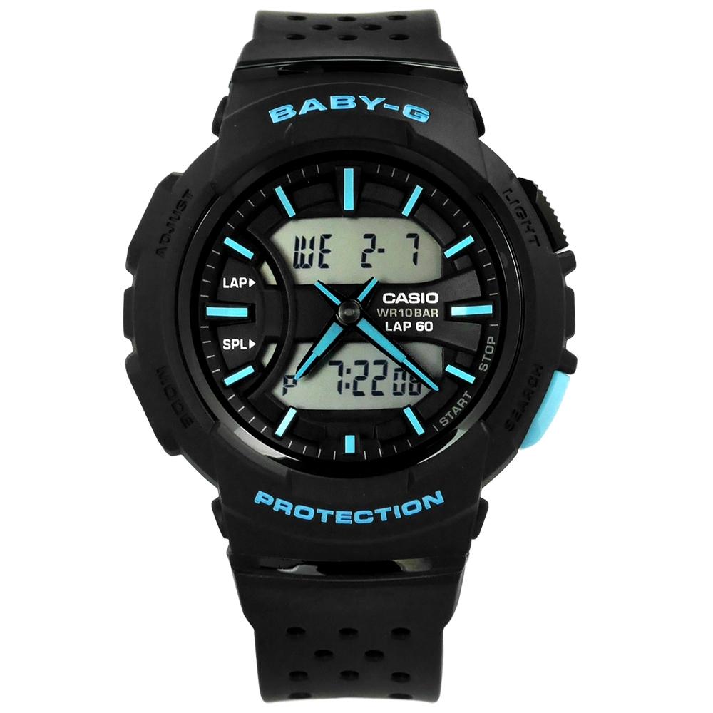 Baby-G CASIO 卡西歐慢跑系列雙顯運動計時錶-藍黑色/42mm