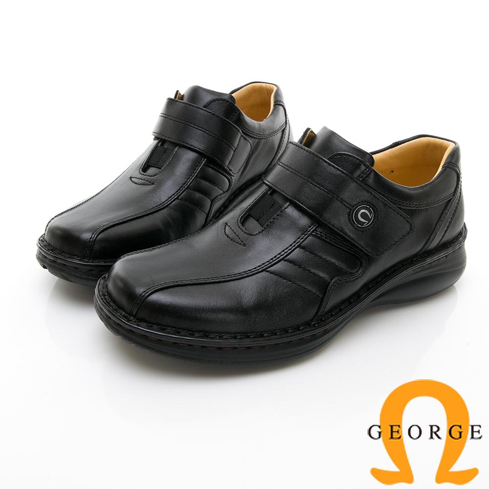 【GEORGE 喬治皮鞋】休閒系列 魔鬼氈柔軟工作皮鞋-黑色