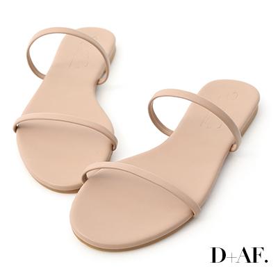 D+AF 清涼夏日.二條細帶平底涼拖鞋*粉杏