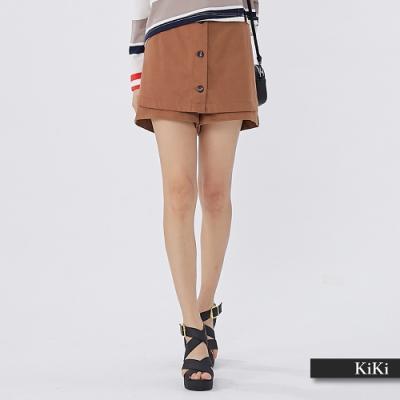 【KiKi】假兩件休閒-裙褲(二色)