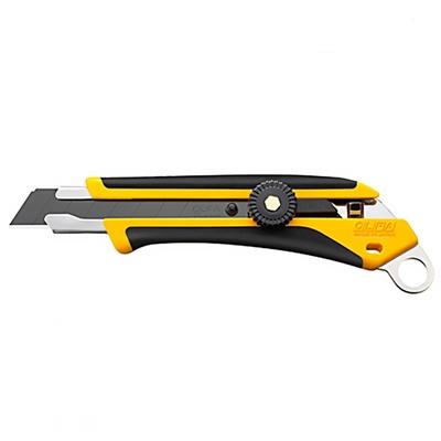 日本優良設計獎OLFA易握X系列18mm大型黑刃美工刀L-6(棘輪鎖;附掛洞;抗滑ComfortGrip超舒適握感;品番218B)切割刀