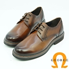 GEORGE喬治皮鞋 學院風圓頭素面綁帶牛津鞋-咖啡色