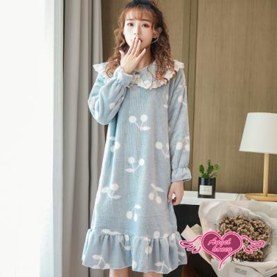 保暖睡衣 優格櫻桃 法蘭絨一件式長袖連身睡裙(藍F) AngelHoney天使霓裳