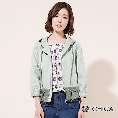 CHICA 春日漫遊拼接設計連帽風衣外套(3色)