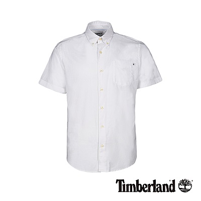 Timberland 男款白色純棉牛津短袖襯衫 A1VYD