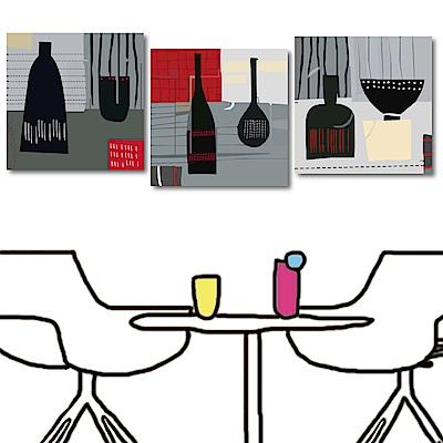 美學365 三聯式方形無框掛畫-廚房天地30x30cm