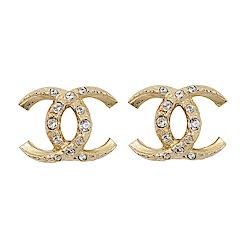 CHANEL香奈兒 經典雙C LOGO 鑲嵌水鑽反轉造型金色耳環
