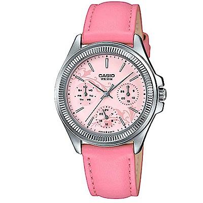 CASIO 浪漫花卉氣質簡約皮帶腕錶-粉面(LTP-2088L-4A2)/33.4mm
