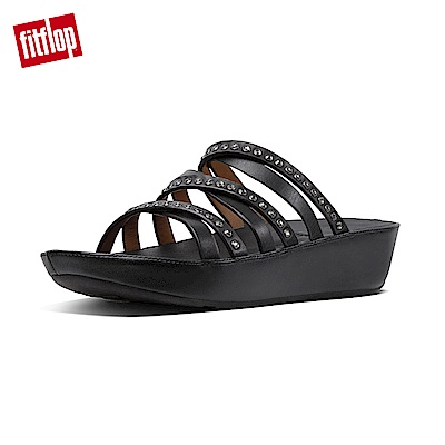 FitFlop LINNY SLIDE SANDALS - CRYSTAL 黑