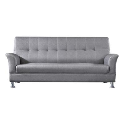 綠活居 費凱時尚灰耐磨皮革三人座沙發椅-188x83x90cm免組