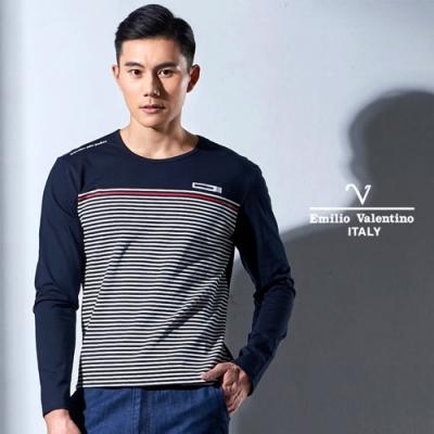 Emilio Valentino 彈性舒適休閒圓領T恤_深藍(15-7V9960)