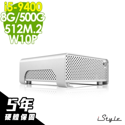 iStyle  Mini 迷你雙碟商用電腦 i5-9400/8G/512M.2+500G/W10P/五年保固