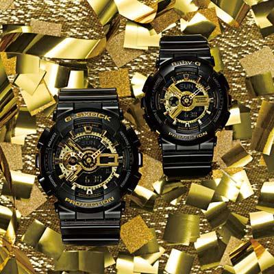 G-SHOCK&BABY-G 變形金剛組合對錶-黑x金