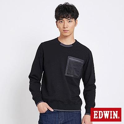 EDWIN 太空競賽配色領口厚長袖T恤-男-黑色