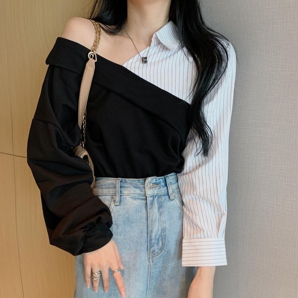 La Belleza雙V領船領棉質T侐對拼接翻領條紋襯衫撞色可露肩造型上衣