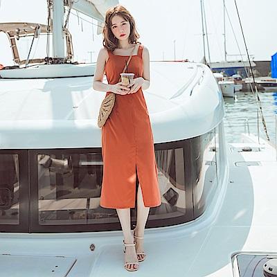 純色腰身前開衩不易皺連身裙-OB大尺碼