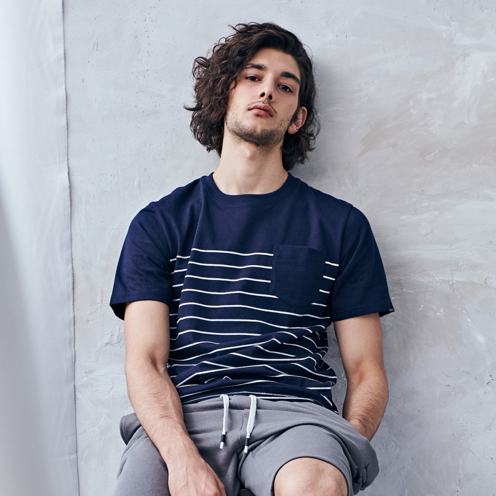NAVY-MIT 半節條紋口袋T-情侶款-(兩色)-男【SNA007】