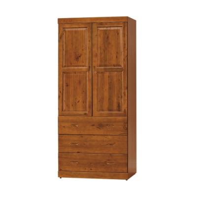 柏蒂家居-卡萊爾2.9尺二門三抽衣櫃-87x60x204cm