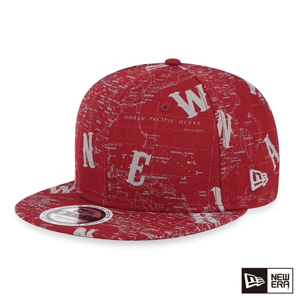 NEW ERA 9FIFTY 950 反光地圖帽 紅 棒球帽