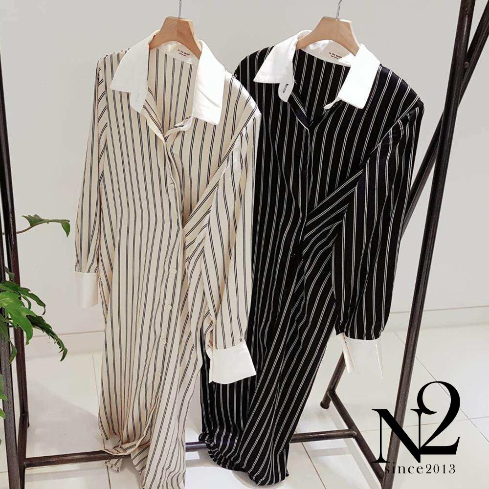 洋裝 正韓緞面撞色兩穿襯衫式長版洋裝(黑) N2