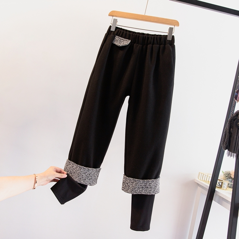 時尚拼接加絨假兩件打底毛呢闊腿褲L-4XL(共二色)-KVOLL