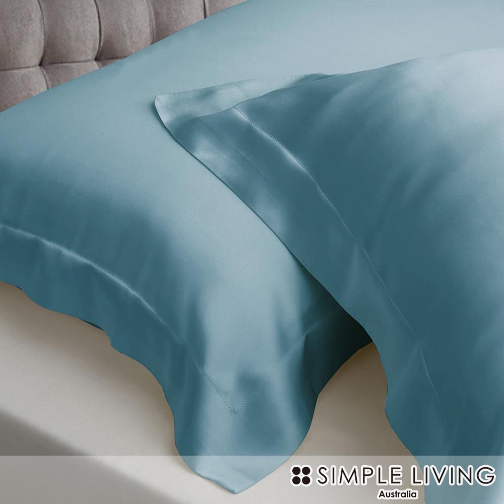 澳洲Simple Living 雙人600織台灣製天絲床包枕套組(湖水綠)