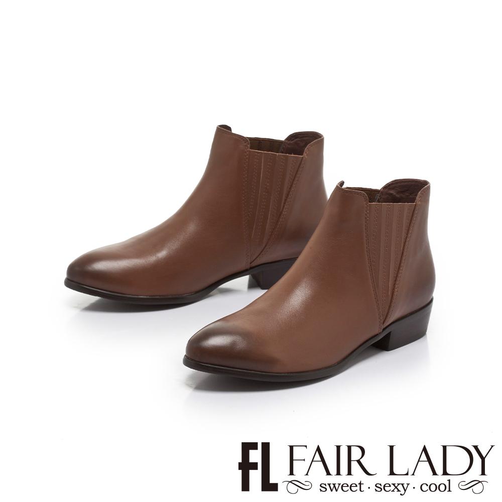 FAIR LADY 簡約率性皮革百搭短靴 咖