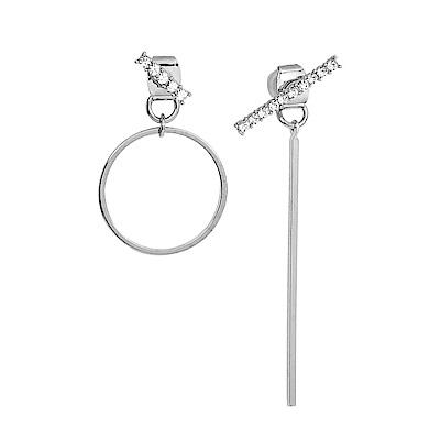 LOVERS TEMPO加拿大品牌 MATRIX不對稱幾何造型 施華洛世奇水晶 銀色耳環