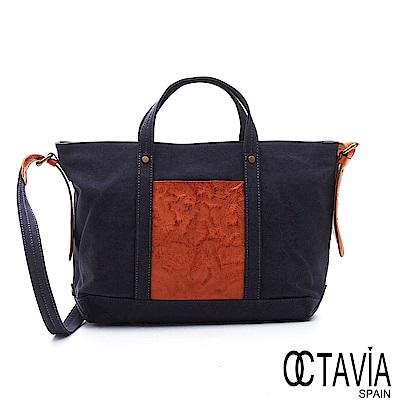 OCTAVIA 8 真皮 - 尼采牛津布系列 讓自己發光四方手提肩揹托特包 - 天使藍