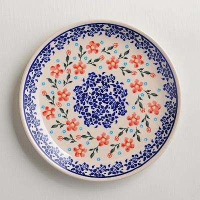 波蘭陶手工製 藍印紅花 淺底圓形餐盤19cm