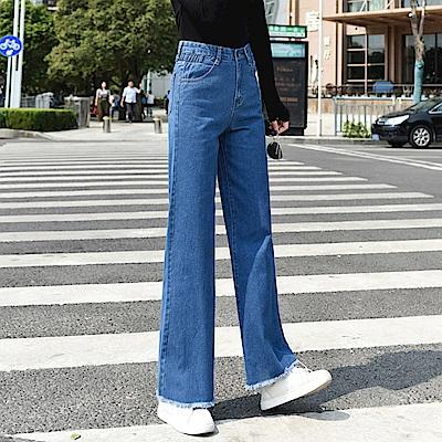 韓風高腰牛仔寬褲-26~32-WHATDAY