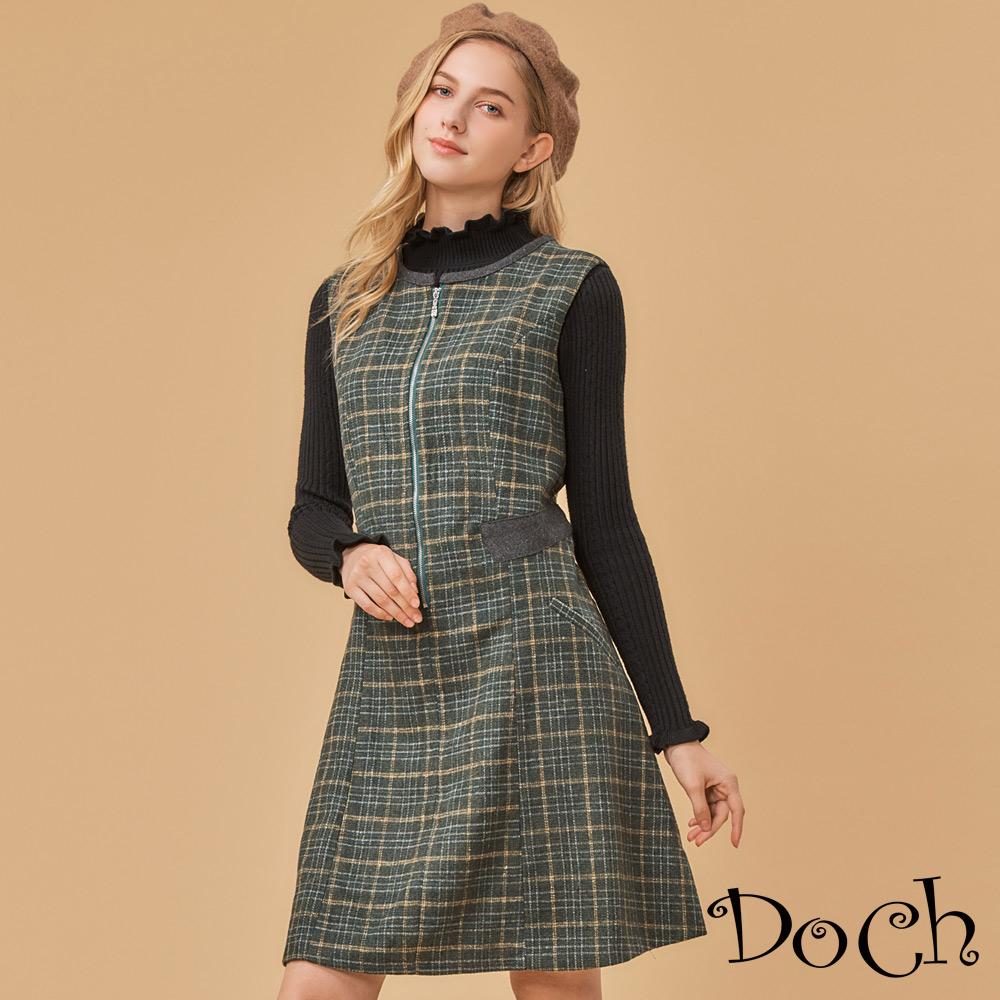 【Doch】顯瘦設計格紋圓領無袖洋裝(共兩色)