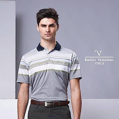 Emilio Valentino精選型男運動風POLO衫_藍領灰綠15-9V2902
