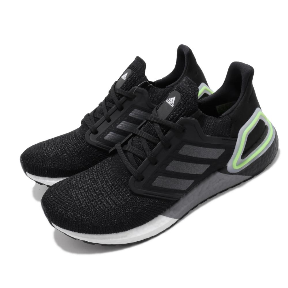 adidas 慢跑鞋 UltraBOOST 20 襪套式 男鞋 愛迪達 路跑 緩震 透氣 球鞋穿搭 黑 灰 綠 EG0707