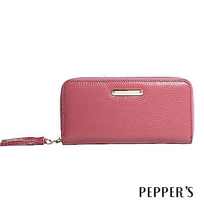 PEPPER`S Reese 牛皮流蘇拉鍊長夾 - 珊瑚粉