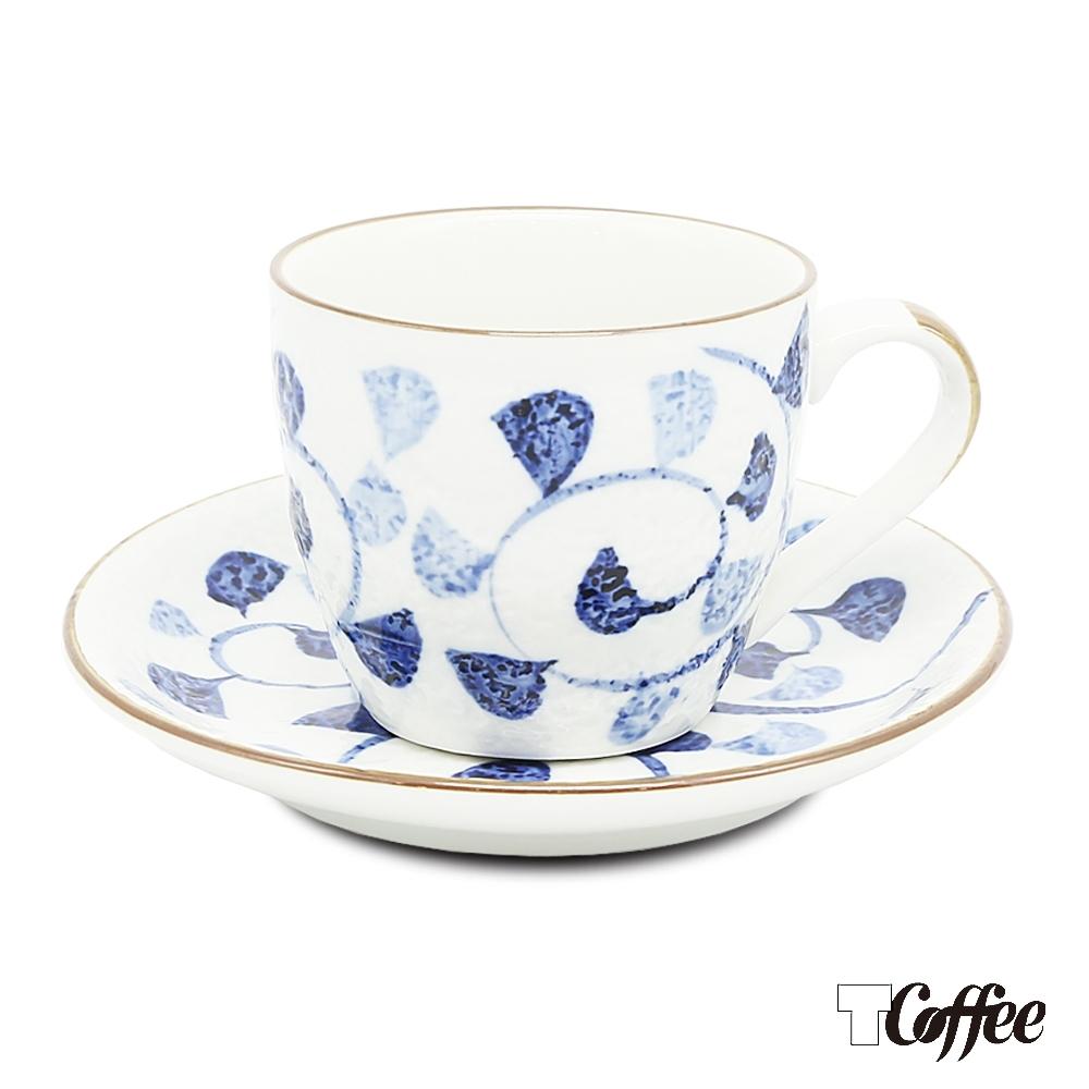 TCoffee MILA-日式手繪咖啡杯盤組 籃藤花150ml