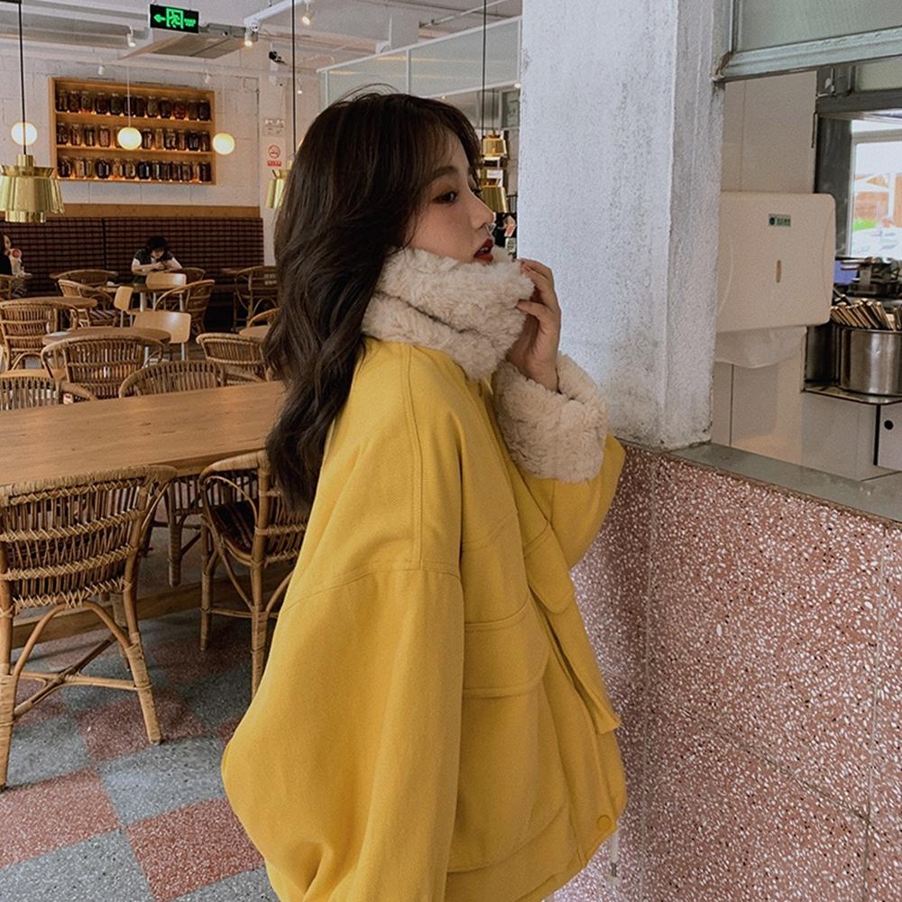 暖呼蓬鬆毛領拼接保暖寬鬆外套S-L(共五色)-WHATDAY (楓黃)