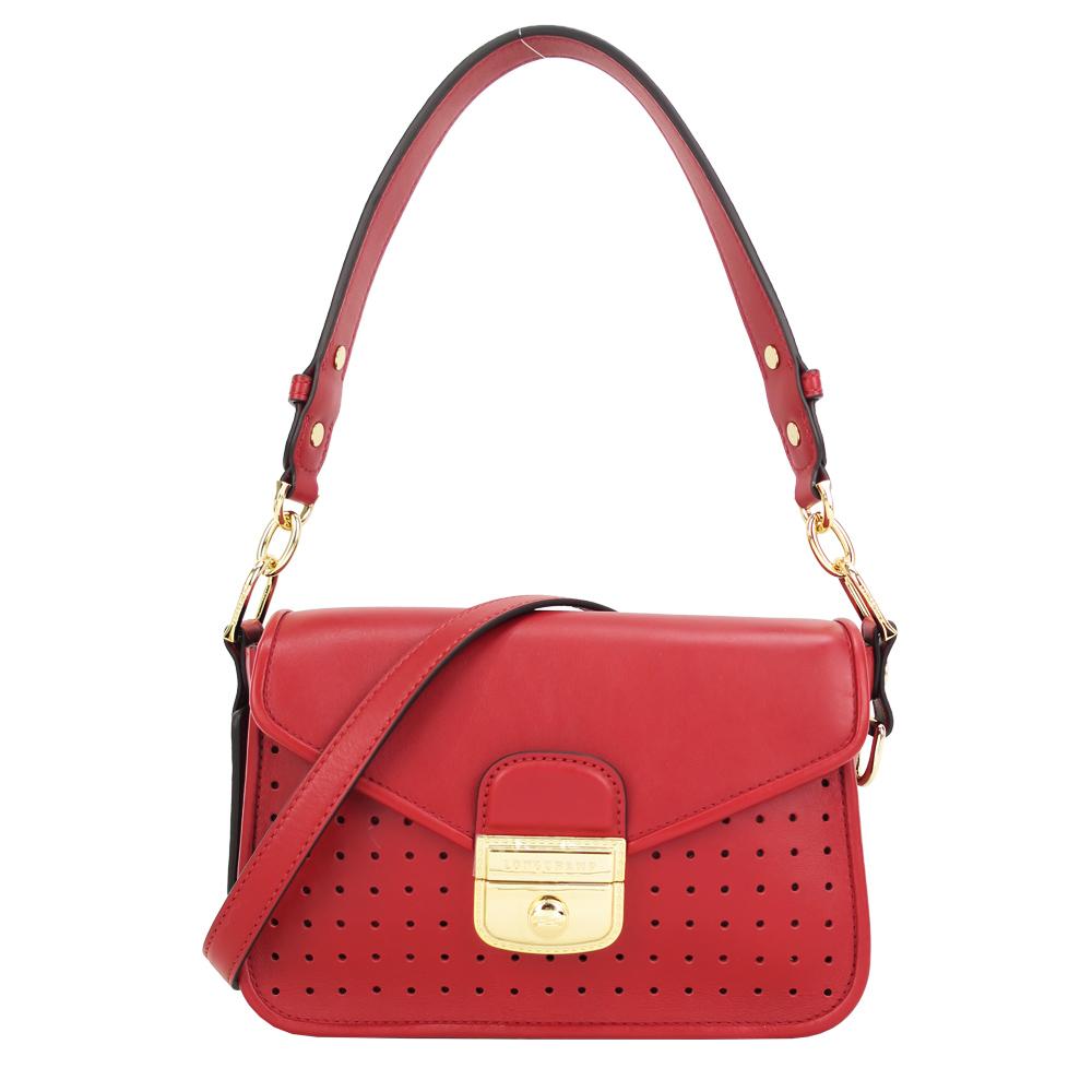 Longchamp MADEMOISELLE 打孔斜背包/石榴紅LONGCHAMP