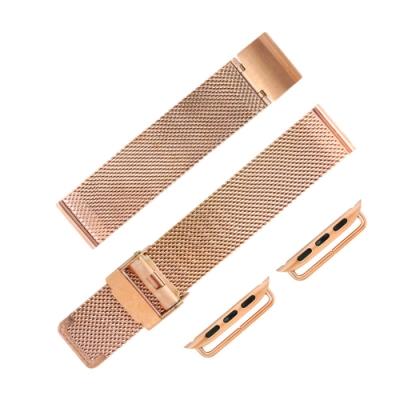 Apple Watch 蘋果手錶替用錶帶 米蘭編織不鏽鋼錶帶-玫瑰金