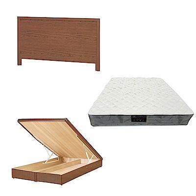 綠活居 梅可6尺雙人加大床台三式組合(床頭片+後掀床底+抗菌防蹣獨立筒)五色可選