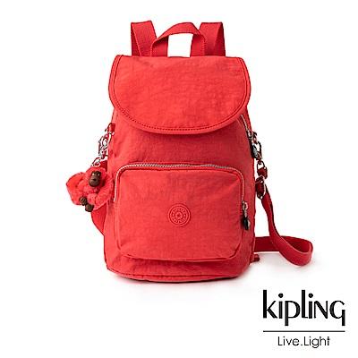 Kipling螢光澄素面拉鍊後背包-CARAF