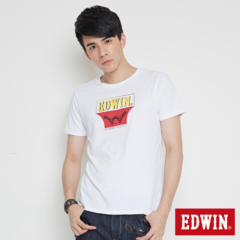 EDWIN 翻玩經典雙LOGO印花短袖T恤-男-白色