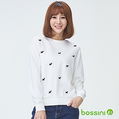 bossini女裝-圓領厚棉上衣06灰白
