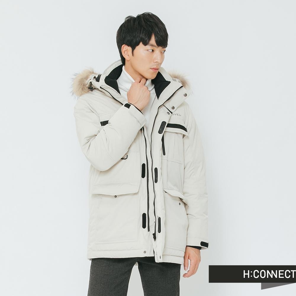 H:CONNECT 韓國品牌 男裝-雙口袋連帽羽絨外套-卡其(快)