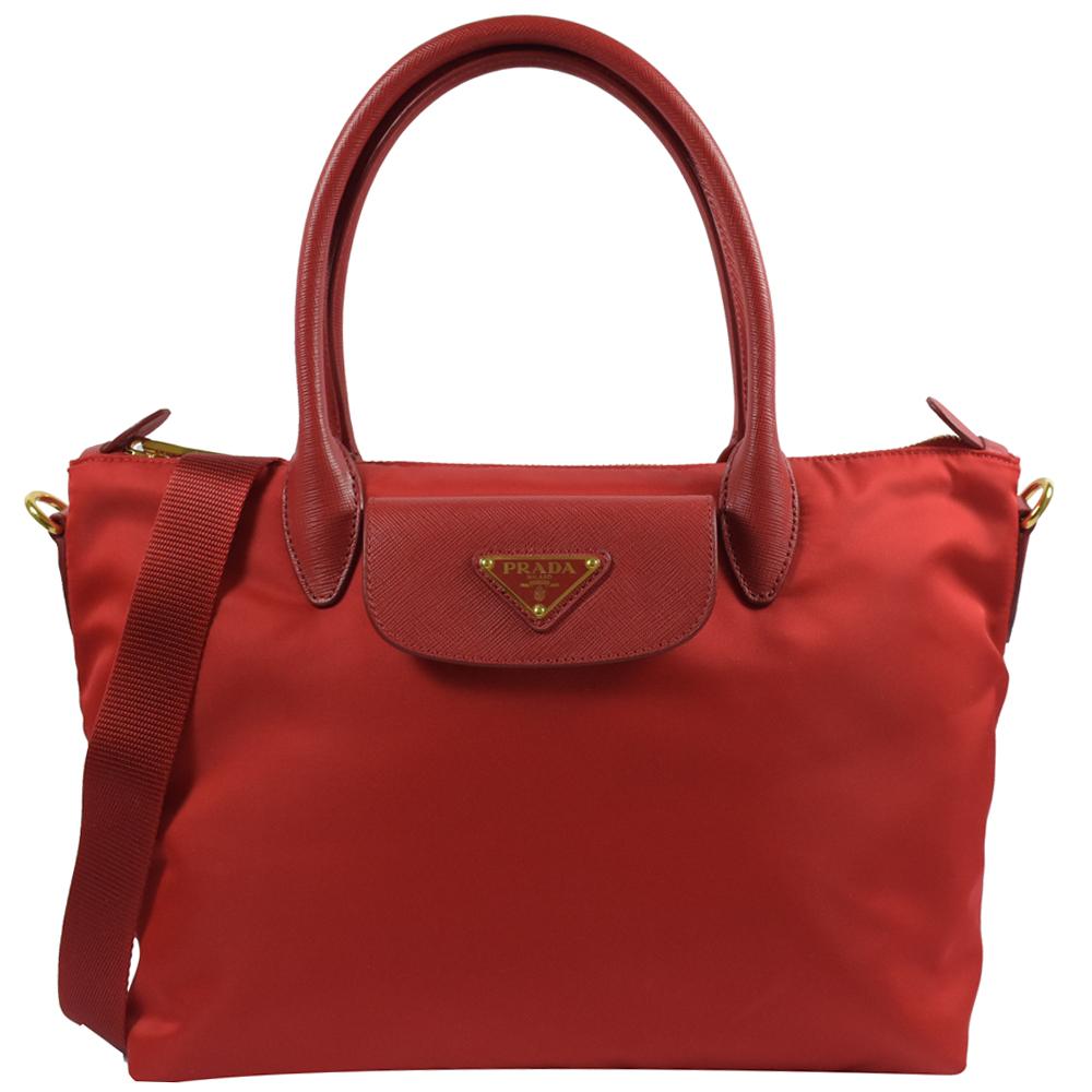 PRADA三角LOGO經典尼龍樣式兩用手提包(紅)PRADA