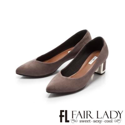 Fair Lady 優雅小姐Miss Elegant 格紋尖頭粗跟鞋 灰