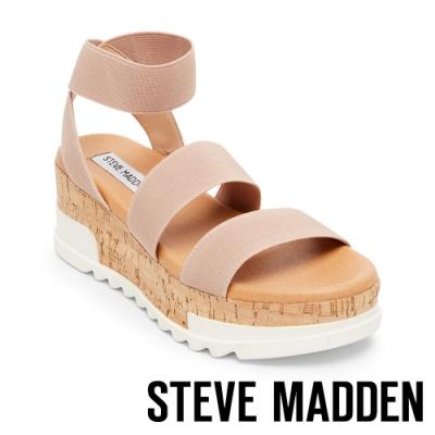STEVE MADDEN-BANDI 彈性交叉束帶拼色厚底涼鞋-粉色