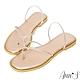 Ann'S裸膚透明系-軟質鑽石夾腳方頭平底涼拖鞋-玫瑰金(版型偏小) product thumbnail 1
