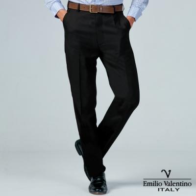 Emilio Valentino 范倫提諾商務平面西裝褲-彈性黑